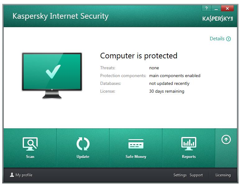 مرحله آخر نصب و راه اندازی آنتی ویروس Kaspersky Internet Security