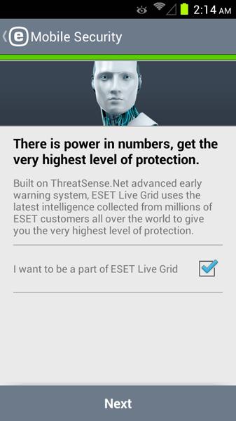 مرحله دوم نصب و راه اندازی آنتی ویروس ESET Mobile Security
