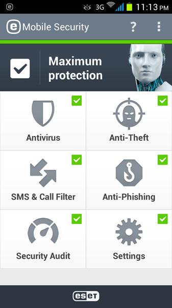 مرحله آخر نصب و راه اندازی آنتی ویروس ESET Mobile Security