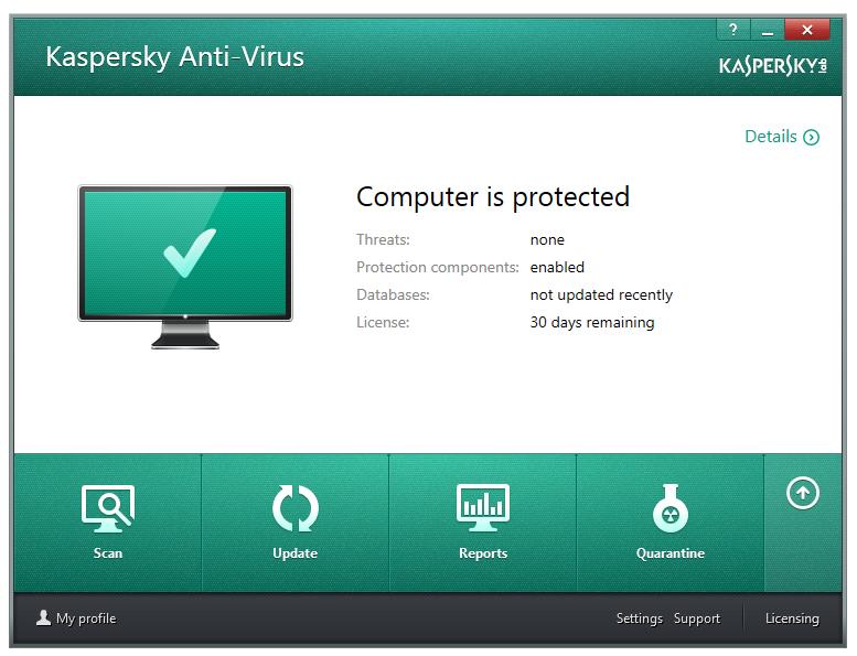 مرحله آخر نصب و راه اندازی آنتی ویروس Kaspersky Antivirus