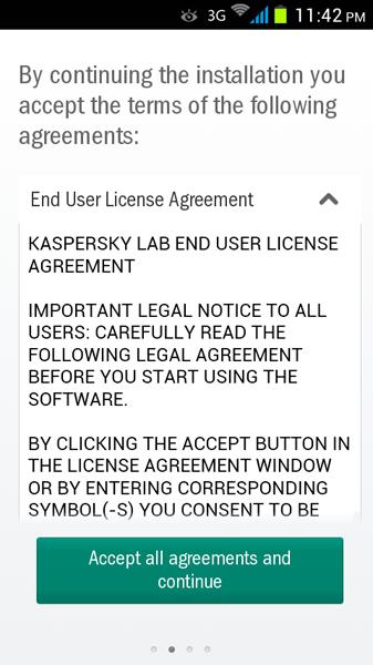 مرحله دوم نصب و راه اندازی آنتی ویروس Kaspersky Internet Security for Android