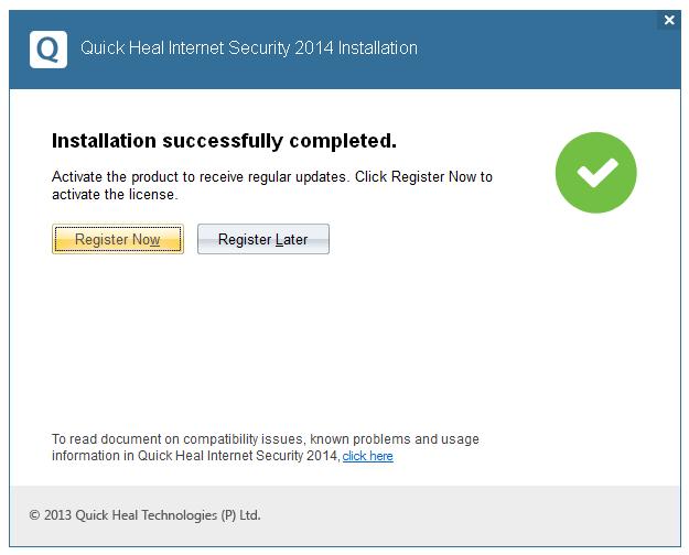 مرحله چهارم نصب و راه اندازی آنتی ویروس Quick Heal Internet Security