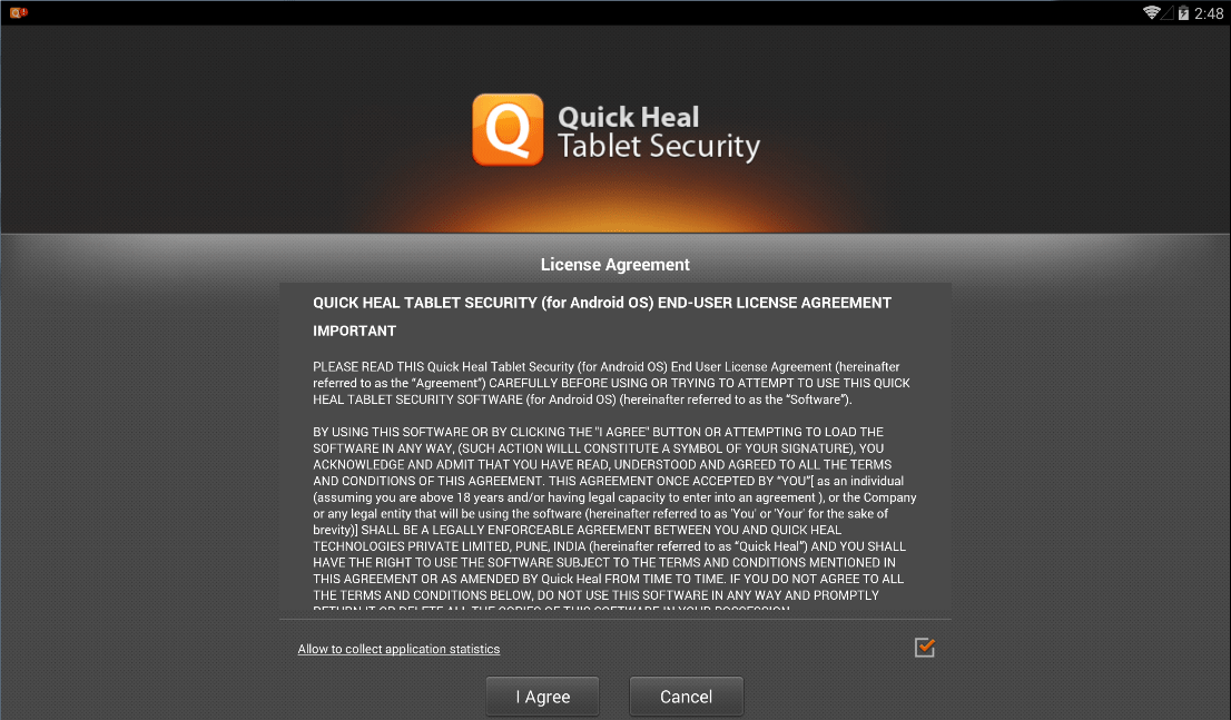 مرحله سوم نصب و راه اندازی آنتی ویروس Quick Heal Tablet Security