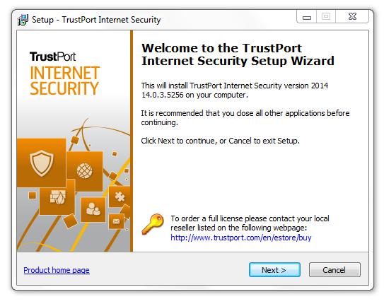 مرحله اول نصب و راه اندازی آنتی ویروس Trustport Internet Security