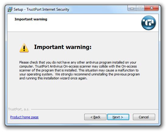 مرحله دوم نصب و راه اندازی آنتی ویروس Trustport Internet Security
